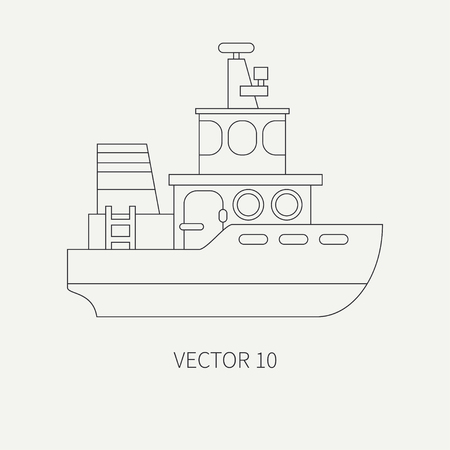 comercial: Line flat vector retro icon comercial tugboat.