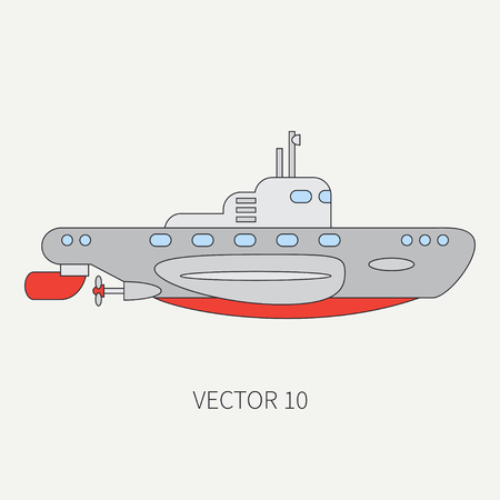 Line flat vector color icon naval submarine. Illustration