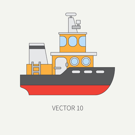 Line flat vector color icon comercial tugboat. Illustration