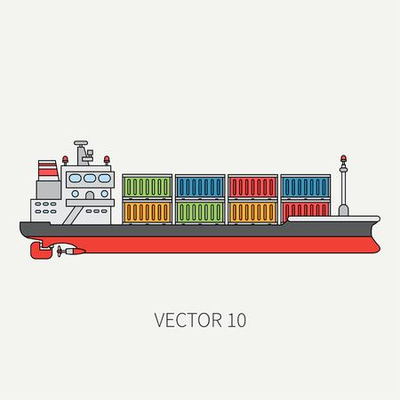 Line flat vector color icon container cargo ship.
