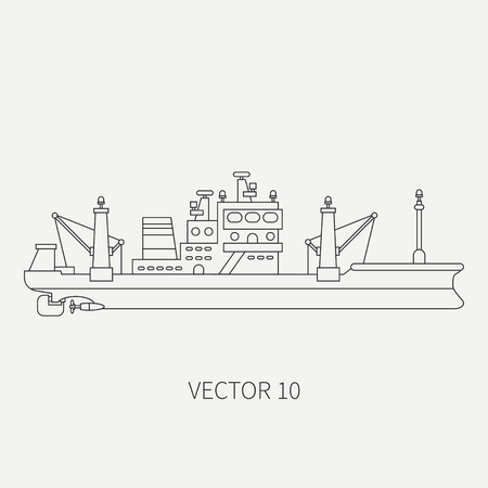 comercial: Line flat vector retro icon comercial trawler ship. Fishing fleet. Cartoon style. Ocean. Sea. Refrigerator. Seafood. Industrial. Marine preserves. Captain. Sail. Illustration and element for design. Stock Photo