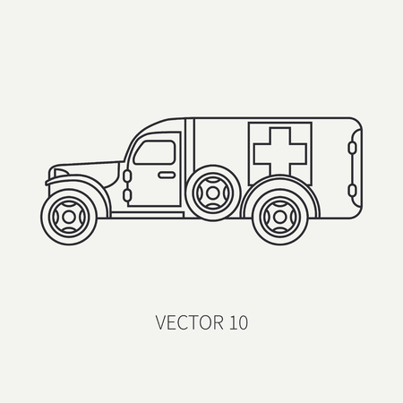 Line flat plain vector icon ambulance army van. Military vehicle. Cartoon vintage style. Soldiers evacuation. Field medicine. Tractor unit. Tow auto. Simple. Illustration and element for your design. Vectores