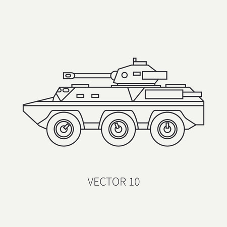 Line flat plain vector icon infantry assault armored army truck. Military vehicle.