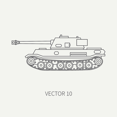 Line flat plain vector icon infantry assault army tank. Military vehicle. Cartoon vintage style. Soldiers. Armored corps. Weaponry. Tractor unit. Tow. Simple. Illustration and element for your design Vectores