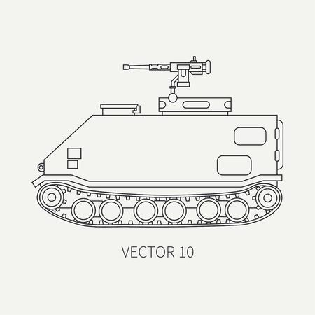Línea plana vector icono plano infantería asalto camión blindado del ejército. Vehículo militar anfibio. Estilo del vintage de la historieta. Soldados. Tractora. Auto de remolque. Sencillo. Ilustración y elemento para su diseño.