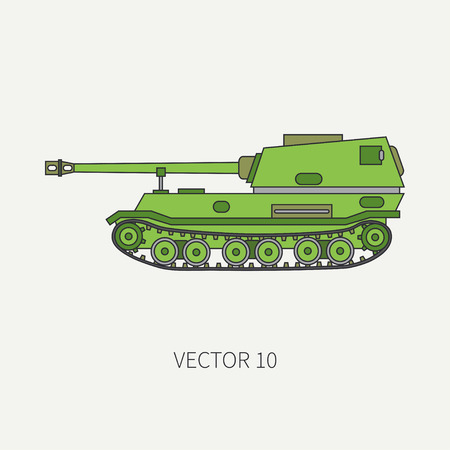 corps: Line flat color vector icon self-propelled artillery army unit. Military vehicle. Cartoon vintage style. Soldiers. Armored corps. Weaponry. Tractor unit. Tow. Illustration and element for your design Illustration