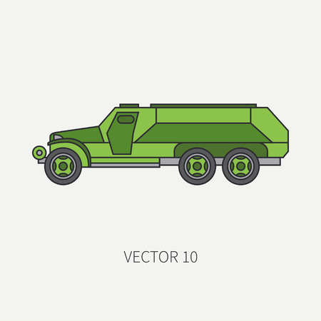 Line flat color vector icon infantry assault armored army truck. Military vehicle. Cartoon vintage style. Transport soldiers. Tractor unit. Tow auto. Simple. Illustration and element for your design.
