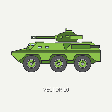 Line flat color vector icon infantry assault armored army truck. Military vehicle. Cartoon vintage style. Soldiers. Tank corps. Tractor unit. Tow auto. Simple. Illustration and element for your design