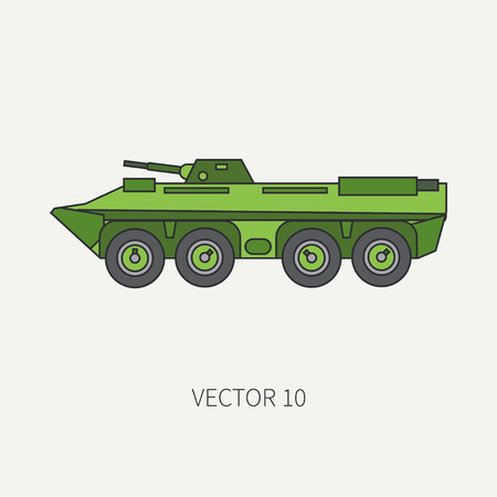 Line flat color vector icon infantry assault armored army truck. Military amphibious vehicle. Cartoon vintage style. Soldiers. Tractor unit. Tow auto. Simple. Illustration and element for your design. Illustration