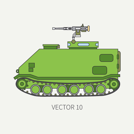 Line flat color vector icon infantry assault armored army truck. Military amphibious vehicle. Cartoon vintage style. Soldiers. Tractor unit. Tow auto. Simple. Illustration and element for your design. Vectores