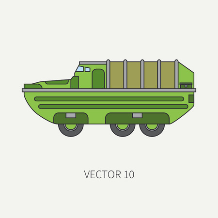 Line flat color vector icon infantry assault armored army truck. Military amphibious vehicle. Cartoon vintage style. Soldiers. Tractor unit. Tow auto. Simple. Illustration and element for your design. Stock Photo