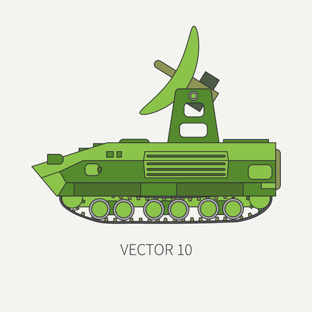 Line flat color vector icon intelligence service armored army truck. Military vehicle. Cartoon vintage style. Soldiers. Tank corps. Tractor unit. Tow. Simple. Illustration and element for your design.