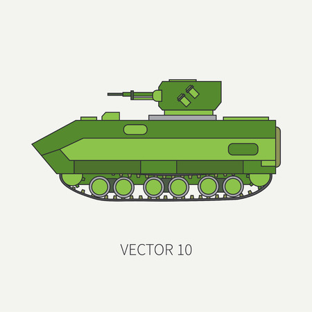 corps: Line flat color vector icon infantry assault armored army truck. Military amphibious vehicle. Cartoon vintage style. Soldiers. Tractor unit. Tow auto. Simple. Illustration and element for your design. Stock Photo