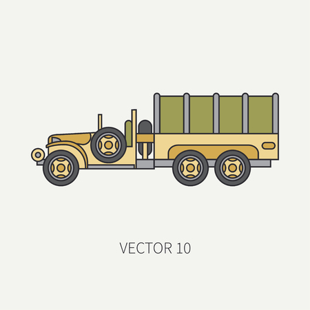 Line flat color vector icon tarpaulin wagon army truck. Military vehicle. Cartoon vintage style. Cargo and soldiers transportation. Tractor unit. Tow. Simple. Illustration and element for your design.