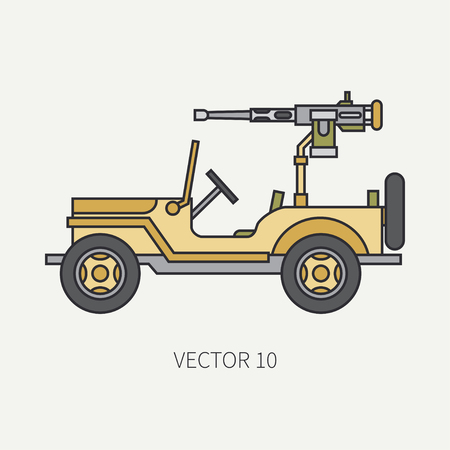 Line flat color vector icon armed open body army pickup. Military vehicle. Cartoon vintage style. Machine gun. Mobile weapon emplacement. Tractor unit. Tow. Illustration and element for your design. Иллюстрация