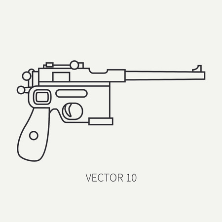 Line flat plain vector military icon handgun, pistol. Army equipment and armament. Legendary retro weapon. Cartoon style. Assault. Soldiers. War. Illustration and element for your design and wallpaper. Illustration