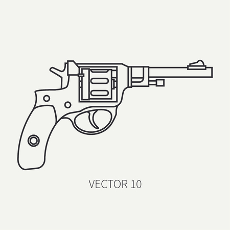 arming: Line flat plain vector military icon revolver, pistol. Army equipment and armament. Legendary retro weapon. Cartoon style. Assault. Soldier. War. Illustration and element for your design and wallpaper.