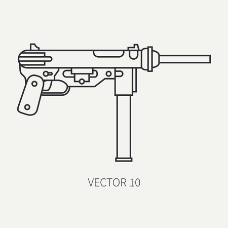 targets: Line flat plain vector military icon - machine gun. Army equipment and armament. Legendary retro weapon. Cartoon style. Assault. Soldiers. War. Illustration and element for your design and wallpaper. Illustration