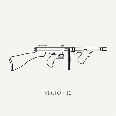 arming: Line flat plain vector military icon - machine gun. Army equipment and armament. Legendary retro weapon. Cartoon style. Assault. Soldiers. War. Illustration and element for your design and wallpaper. Illustration