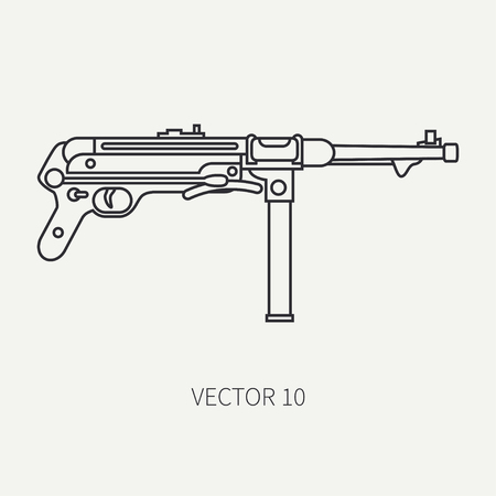 Line flat plain vector military icon - machine gun. Army equipment and armament. Legendary retro weapon. Cartoon style. Assault. Soldiers. War. Illustration and element for your design and wallpaper. Illustration