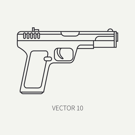 arming: Line flat plain vector military icon handgun, pistol. Army equipment and armament. Legendary retro weapon. Cartoon style. Assault. Soldiers. War. Illustration and element for your design and wallpaper. Illustration