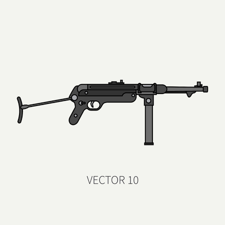 arming: Line flat color vector military icon - machine gun. Army equipment and armament. Legendary retro weapon. Cartoon style. Assault. Soldiers. War. Illustration and element for your design and wallpaper. Illustration