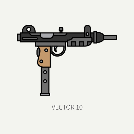 Line flat color vector military icon - machine gun. Army equipment and armament. Legendary retro weapon. Cartoon style. Assault. Soldiers. War. Illustration and element for your design and wallpaper. Illustration