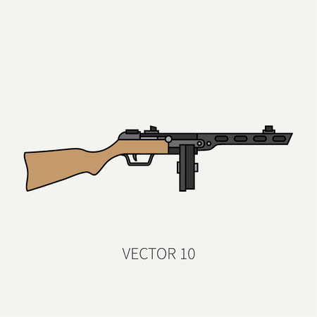 soldiers: Line flat color vector military icon - machine gun. Army equipment and armament. Legendary retro weapon. Cartoon style. Assault. Soldiers. War. Illustration and element for your design and wallpaper. Illustration