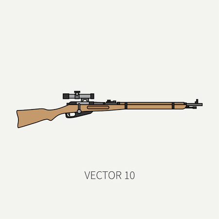 Line flat color vector military icon rifle, carbine. Army equipment and armament. Legendary retro weapon. Cartoon style. Assault. Soldiers. War. Illustration and element for your design and wallpaper.