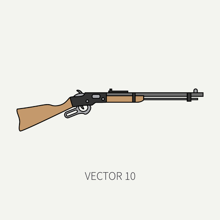 arming: Line flat color vector military icon rifle, carbine. Army equipment and armament. Legendary retro weapon. Cartoon style. Assault. Soldiers. War. Illustration and element for your design and wallpaper.