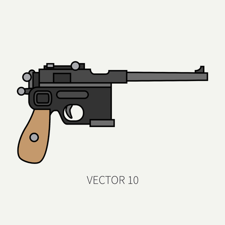 Line flat color vector military icon handgun, pistol. Army equipment and armament. Legendary retro weapon. Cartoon style. Assault. Soldiers. War. Illustration and element for your design and wallpaper
