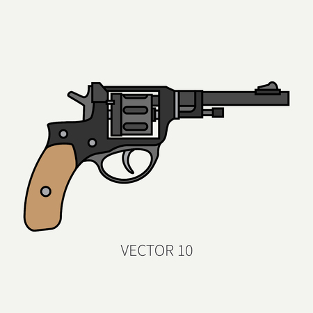 Line flat color vector military icon revolver, pistol. Army equipment and armament. Legendary retro weapon. Cartoon style. Assault. Soldier. War. Illustration and element for your design and wallpaper