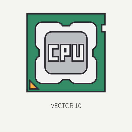 pc icon: Line flat color vector computer part icon processor. Cartoon. Digital gaming and business office pc desktop device. Innovation gadget. Hardware. Illustration and element for your design, wallpaper. Illustration