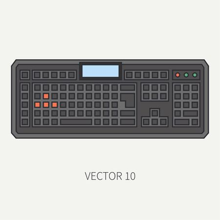 Line flat color vector computer part icon keyboard. Cartoon. Digital gaming and business office pc desktop device. Innovation gadget. Internet. Illustration and element for your design and wallpaper.