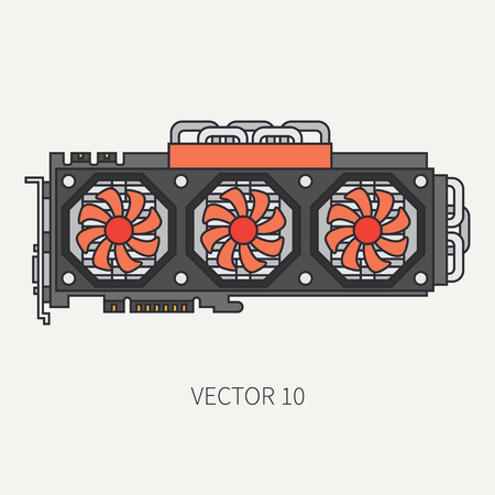 Line flat color vector computer part icon video card. Cartoon. Digital gaming and business office pc desktop device. Innovation gadget. Internet. Illustration and element for your design and wallpaper