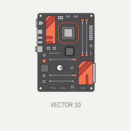 pc icon: Line flat color vector computer part icon motherboard. Cartoon. Digital gaming and business office pc desktop device. Innovation gadget. Internet. Illustration and element for your design, wallpaper. Illustration