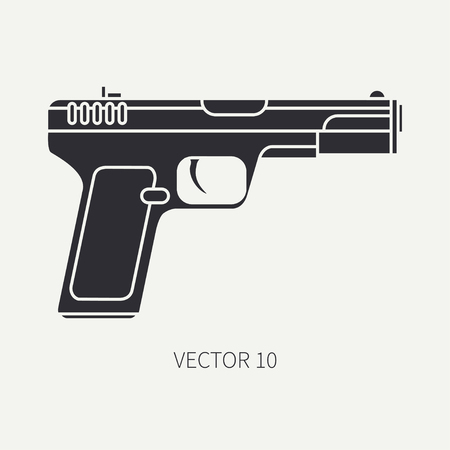 Silhouette. Line flat vector military icon handgun, pistol. Army equipment and armament. Legendary retro weapon. Cartoon. Assault. Soldiers. War. Illustration and element for your design and wallpaper Illustration