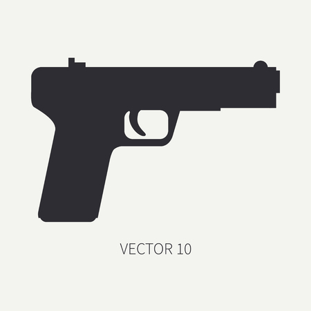 arming: Silhouette. Line flat vector military icon handgun, pistol. Army equipment and armament. Legendary retro weapon. Cartoon. Assault. Soldiers. War. Illustration and element for your design and wallpaper Illustration