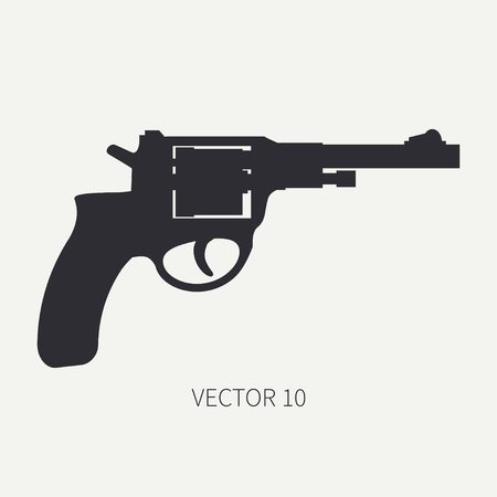 Silhouette. Line flat vector military icon revolver, pistol. Army equipment and armament. Legendary retro weapon. Cartoon. Assault. Soldier. War. Illustration and element for your design and wallpaper