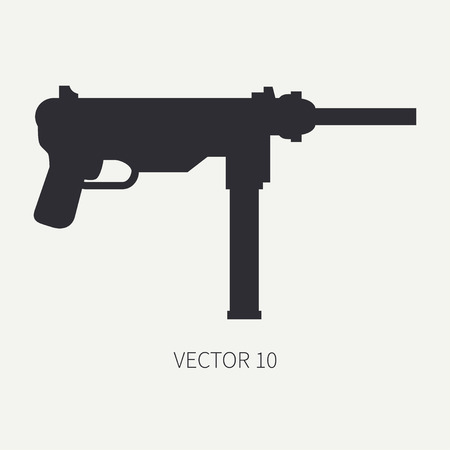 arming: Silhouette. Line flat vector military icon - machine gun. Army equipment and armament. Legendary retro weapon. Cartoon. Assault. Soldiers. War. Illustration and element for your design and wallpaper.