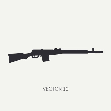 Silhouette. Line flat vector military icon rifle, carbine. Army equipment and armament. Legendary retro weapon. Cartoon. Assault. Soldiers. War. Illustration and element for your design and wallpaper. Illustration