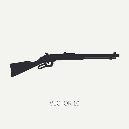 arming: Silhouette. Line flat vector military icon rifle, carbine. Army equipment and armament. Legendary retro weapon. Cartoon. Assault. Soldiers. War. Illustration and element for your design and wallpaper. Illustration