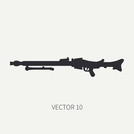 Silhouette. Line flat vector military icon - machine gun. Army equipment and armament. Legendary retro weapon. Cartoon. Assault. Soldiers. War. Illustration and element for your design and wallpaper.
