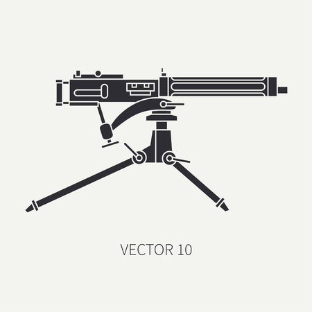 small butt: Silhouette. Line flat vector military icon - machine gun. Army equipment and armament. Legendary retro weapon. Cartoon. Assault. Soldiers. War. Illustration and element for your design and wallpaper.