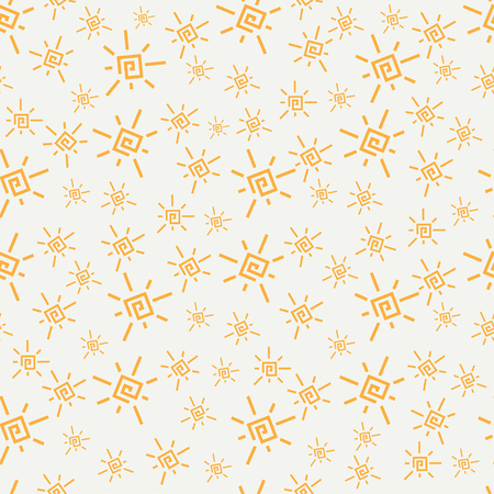 Flat color vector seamless summer sun pattern. Fabric textile summer pattern. Cute doodle summer pattern with sun. Vector illustration and element for your design and wallpaper.