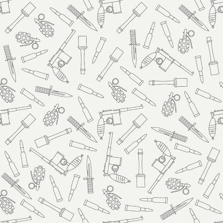Seamless line pattern with military equipment icons. Vector illustration.