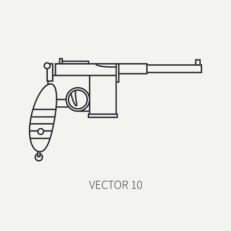 arming: Line flat vector military icon - pistol. Army equipment and weapons. Cartoon style. Army. Assault. Soldiers. Armament. Ammunition. Retro. Vector illustration and element for your design and wallpaper.