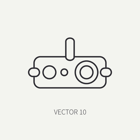 arming: Line flat vector military icon - night-vision device. Army equipment and weapons. Assault. Soldiers. Armament. Ammunition. Cartoon style. Vector illustration and element for your design and wallpaper. Illustration