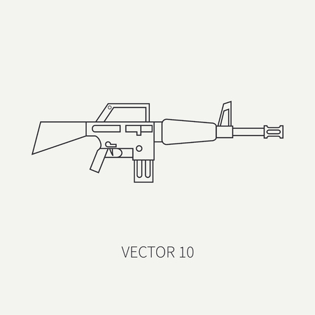 Line flat vector military icon - machine gun. Army equipment and weapons. Cartoon style. Army. Assault. Soldiers. Armament. Ammunition. Vector illustration and element for your design and wallpaper.