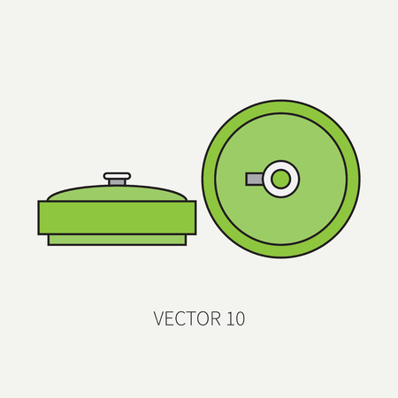 arming: Line flat color vector military icon anti-tank mine. Army equipment and weapons. Cartoon style. Assault. Soldiers. Armament. Ammunition. Vector illustration and element for your design and wallpaper.